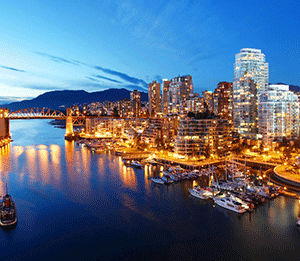 The skyline in Vancouver, British Columbia